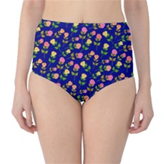 Flowers Roses Floral Flowery Blue Background High-Waist Bikini Bottoms