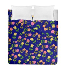 Flowers Roses Floral Flowery Blue Background Duvet Cover Double Side (full/ Double Size)