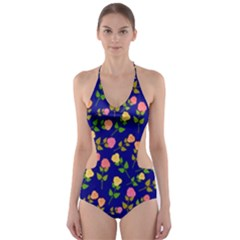Flowers Roses Floral Flowery Blue Background Cut-Out One Piece Swimsuit