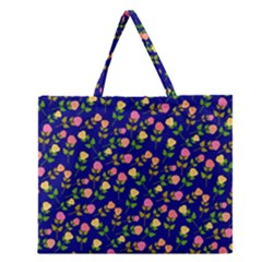 Flowers Roses Floral Flowery Blue Background Zipper Large Tote Bag