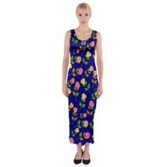 Flowers Roses Floral Flowery Blue Background Fitted Maxi Dress