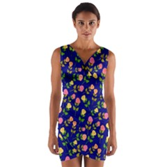 Flowers Roses Floral Flowery Blue Background Wrap Front Bodycon Dress
