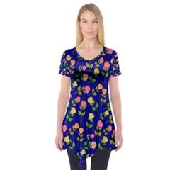 Flowers Roses Floral Flowery Blue Background Short Sleeve Tunic