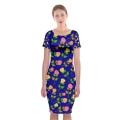 Flowers Roses Floral Flowery Blue Background Classic Short Sleeve Midi Dress