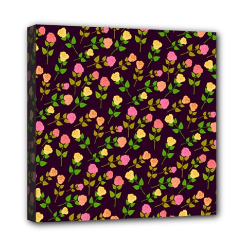Flowers Roses Floral Flowery Mini Canvas 8  x 8