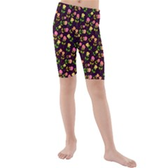 Flowers Roses Floral Flowery Kids  Mid Length Swim Shorts