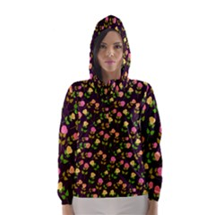 Flowers Roses Floral Flowery Hooded Wind Breaker (women)