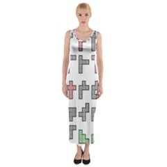 Hexominos Fitted Maxi Dress