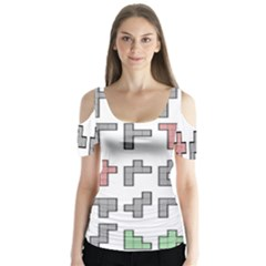 Hexominos Butterfly Sleeve Cutout Tee