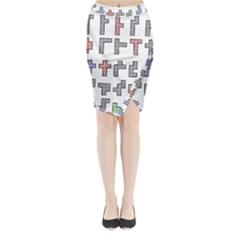 Hexominos Midi Wrap Pencil Skirt