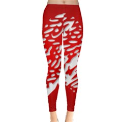 Heart Design Love Red Leggings