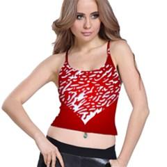 Heart Design Love Red Spaghetti Strap Bra Top
