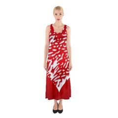 Heart Design Love Red Sleeveless Maxi Dress