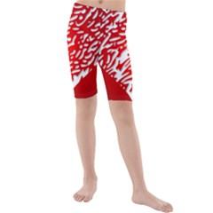 Heart Design Love Red Kids  Mid Length Swim Shorts
