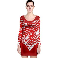 Heart Design Love Red Long Sleeve Bodycon Dress