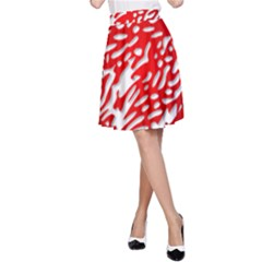 Heart Design Love Red A-Line Skirt
