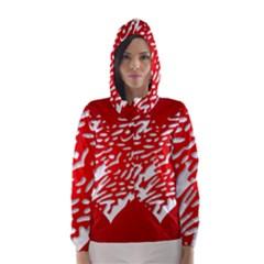 Heart Design Love Red Hooded Wind Breaker (Women)