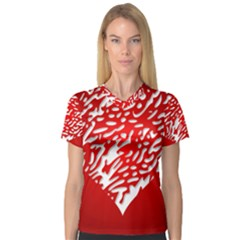 Heart Design Love Red Women s V-Neck Sport Mesh Tee