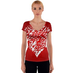 Heart Design Love Red Women s V-Neck Cap Sleeve Top