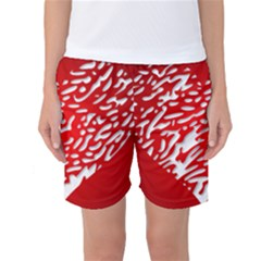 Heart Design Love Red Women s Basketball Shorts