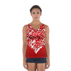 Heart Design Love Red Women s Sport Tank Top