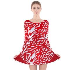 Heart Design Love Red Long Sleeve Velvet Skater Dress