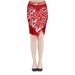 Heart Design Love Red Midi Wrap Pencil Skirt