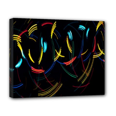Yellow Blue Red Arcs Light Deluxe Canvas 20  x 16