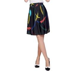 Yellow Blue Red Arcs Light A-Line Skirt