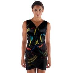 Yellow Blue Red Arcs Light Wrap Front Bodycon Dress