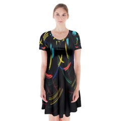 Yellow Blue Red Arcs Light Short Sleeve V-neck Flare Dress