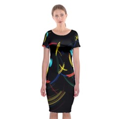 Yellow Blue Red Arcs Light Classic Short Sleeve Midi Dress