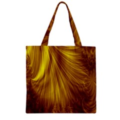 Flower Gold Hair Zipper Grocery Tote Bag