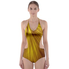 Flower Gold Hair Cut-Out One Piece Swimsuit