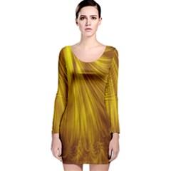 Flower Gold Hair Long Sleeve Velvet Bodycon Dress