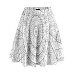 Flower Rose Flowering Sunflower Black High Waist Skirt