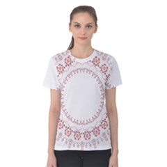 Floral Frame Pink Red Star Leaf Flower Women s Cotton Tee