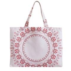 Floral Frame Pink Red Star Leaf Flower Zipper Mini Tote Bag