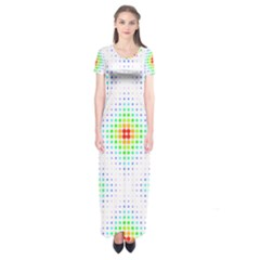 Color Square Short Sleeve Maxi Dress