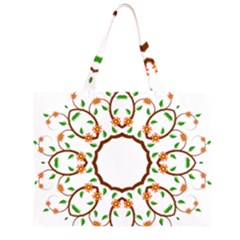 Frame Floral Tree Flower Leaf Star Circle Large Tote Bag