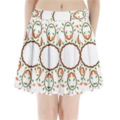 Frame Floral Tree Flower Leaf Star Circle Pleated Mini Skirt