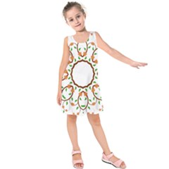 Frame Floral Tree Flower Leaf Star Circle Kids  Sleeveless Dress