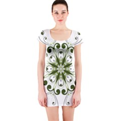 Frame Flourish Flower Green Star Short Sleeve Bodycon Dress