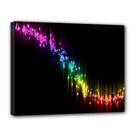 Illustrations Black Colorful Line Purple Yellow Pink Canvas 14  x 11