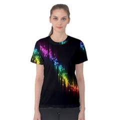 Illustrations Black Colorful Line Purple Yellow Pink Women s Cotton Tee