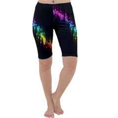 Illustrations Black Colorful Line Purple Yellow Pink Cropped Leggings