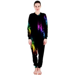 Illustrations Black Colorful Line Purple Yellow Pink OnePiece Jumpsuit (Ladies)