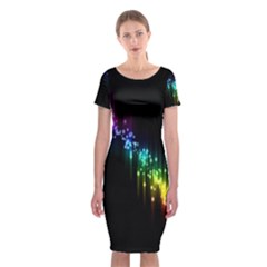 Illustrations Black Colorful Line Purple Yellow Pink Classic Short Sleeve Midi Dress