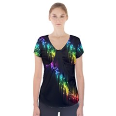 Illustrations Black Colorful Line Purple Yellow Pink Short Sleeve Front Detail Top