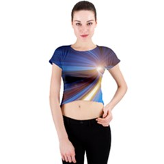 Glow Motion Lines Light Blue Gold Crew Neck Crop Top